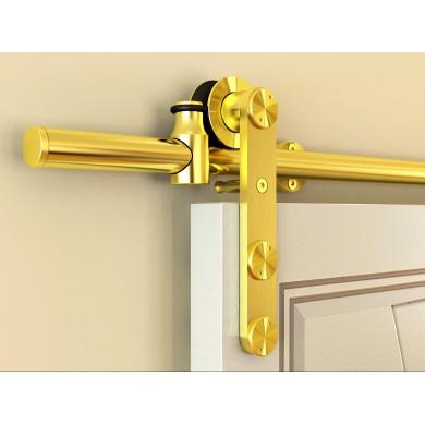 Geneva SAtin Brass Barn Door Hardware for Wood Doors