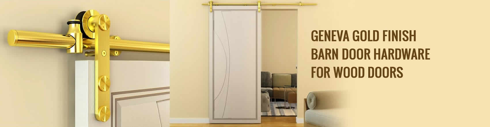 Geneva Gold Finish Barn Door Hardware for Wood Doors